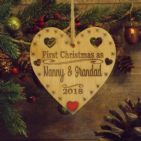 First 1st Christmas as Nanny & Grandad Personalised Heart Decoration Gift